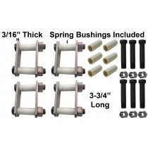 "Trailer Shackle Repair Kit (Both Sides) For 1 3/4"" Wide Springs Shackles 3 3/4"" Long For Tandem Axle Trailers"