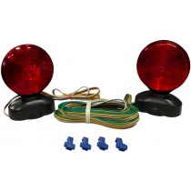 Auxiliary Tow Light Kit with Two Double Face Incandescent (Red/Amber) Stop, Tail and Turn Lights with Magnetic Base, Trunk Connector and 20' Trailer Harness