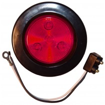 "2 1/2"" Round - Red - Marker Light with Grommet and Plug"
