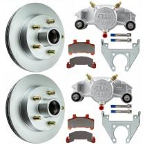 "Kodiak 10""  Integral Hub/Rotor Single Axle Disc Brake Kit - 5 on 4 1/2"" - Stainless Steel Calipers"