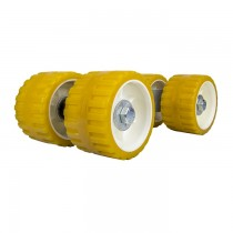 "Quad Roller Assembly with 3"" x 5"" x 3/4"" Yellow Rollers - Less Arm"