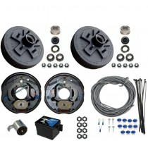 "Single Axle Electric Brake Kit - 10"" 5-Bolt Drum Brakes with Wire, Breakaway Kit, and Plug - 3,500 lbs."