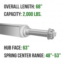 """Galvanized 2"""" Square Trailer Axle - 2,000 lbs. Capacity with 1 1/16"""" Spindles - 63"""" Hub Face"""