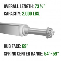 """Galvanized 2"""" Square Trailer Axle - 2,000 lbs. Capacity with 1 1/16"""" Spindles - 69"""" Hub Face"""