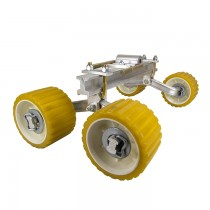 "Quad Roller Assembly with 3"" x 5"" Yellow Wobble Rollers"