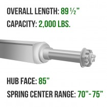 """Galvanized 2"""" Square Trailer Axle - 2,000 lbs. Capacity with 1 1/16"""" Spindles - 85"""" Hub Face"""