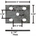 """Galvanized Axle Tie Plate for 2"""" or 2 3/8"""" Axle and 1 3/4"""" Spring"""