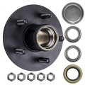 "5 Bolt on 4 1/2"" Large Flange Trailer Hub with 1"" Bearings (L44643)"