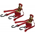 "2 piece Red 1"" x 6' Ratchet Straps with Rubber Handles"