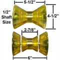 "3"" Bow Roller with End Bells - Yellow Poly Vinyl - Mounting Bolt Included"