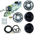 "Single Axle Hydraulic Brake Kit -  10"" 5-Bolt Drum Brakes with Actuator and Flexible Lines - 3,500 lbs."